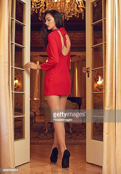 elegant in red - woman open legs stock photos and pictures