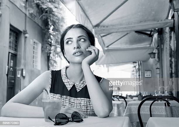 elegant italian girl drinking aperitif - italian culture stock pictures, royalty-free photos & images