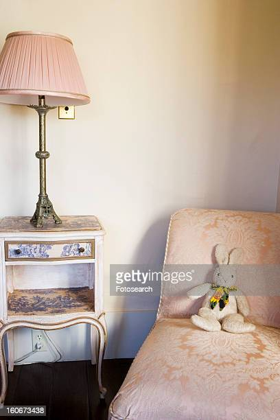 Elegant kid's bedroom with pink accents