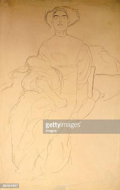 Elegant Lady sitting Drawing Around 1910 [Elegante Dame sitzend Zeichnung Um 1910]