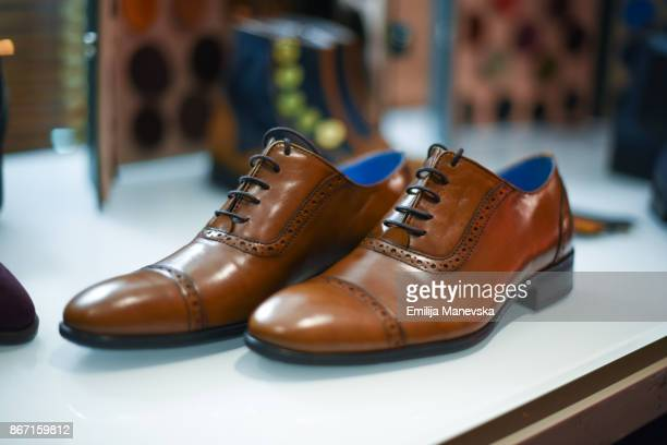 elegant leather men shoes - brown shoe stock photos and pictures