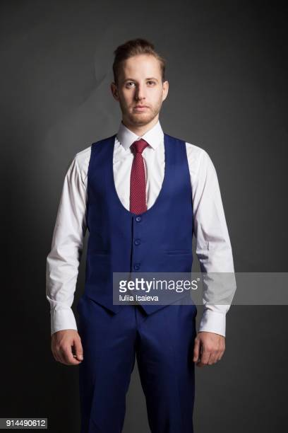 elegant man in blue suit - waistcoat stock photos and pictures