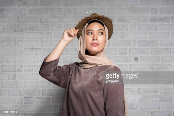 elegant muslim girl - malay hijab stock photos and pictures