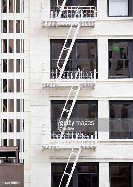 Elegant old fire escape ladders