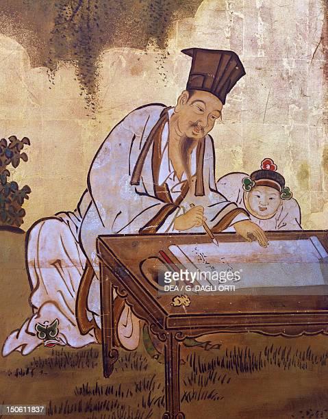 Elegant pastimescalligraphy screen by Kano Tansetsu Japan Detail Japanese Civilisation Edo period early 18th century