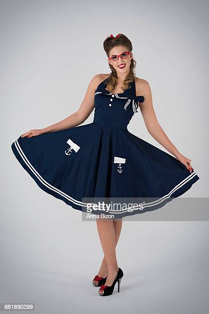 Elegant pin up in naval themed dress. Debica, Poland