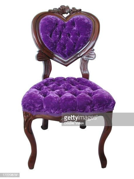 Elegant Royal Purple Chair with Wood Trim and Heart-shaped Backrest