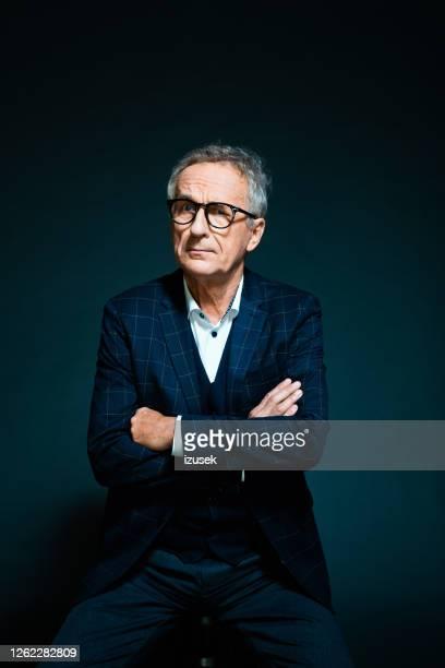 elegant senior man, fashion portrait - dark stock pictures, royalty-free photos & images