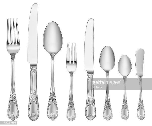 elegant silverware set (clipping path) - silverware stock pictures, royalty-free photos & images