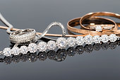 Elegant unusual silver chain and gold jewerly
