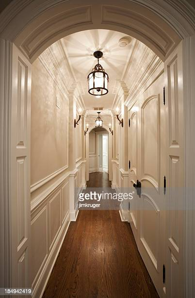 Elegant white hallway with hardwood floor.