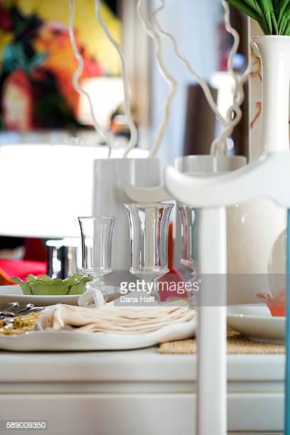 elegant white table setting - dana white stock pictures, royalty-free photos & images