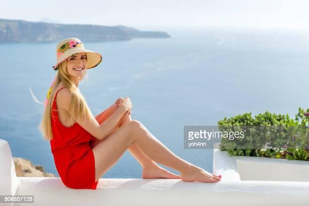 Elegant woman & idyllic sea view