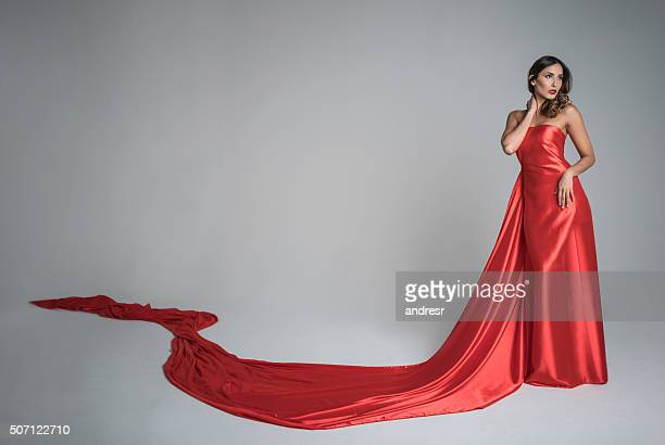 Elegant woman in a long dress