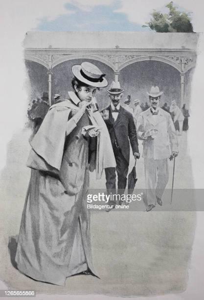 Elegant woman on walk on the spa promenade, original print from the year 1899, Elegante Frau auf dem Spaziergang auf der Kurort, Promenade,...