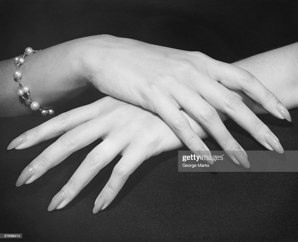 Elegant woman (Close-up of hands), (B&W) : Stock Photo