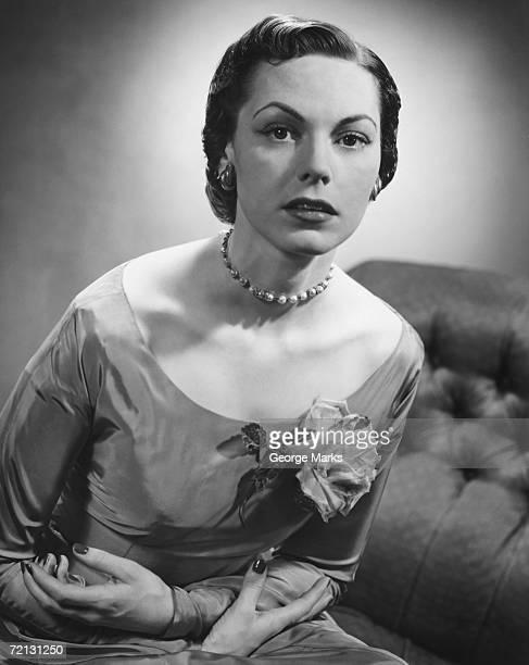 elegant woman posing in studio (b&w), portrait - taffeta stock photos and pictures
