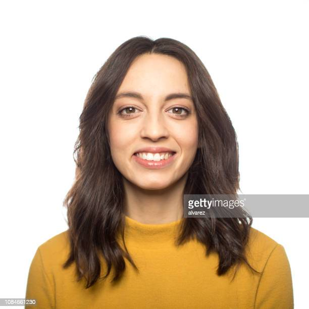 elegant woman smiling on white background - medium length hair stock pictures, royalty-free photos & images
