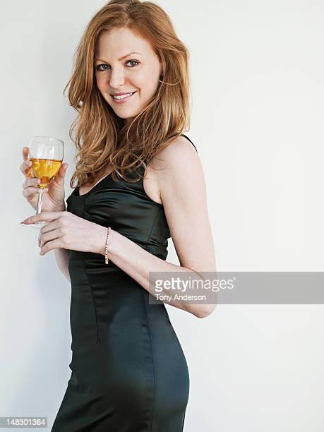 Elegant woman with wine glass