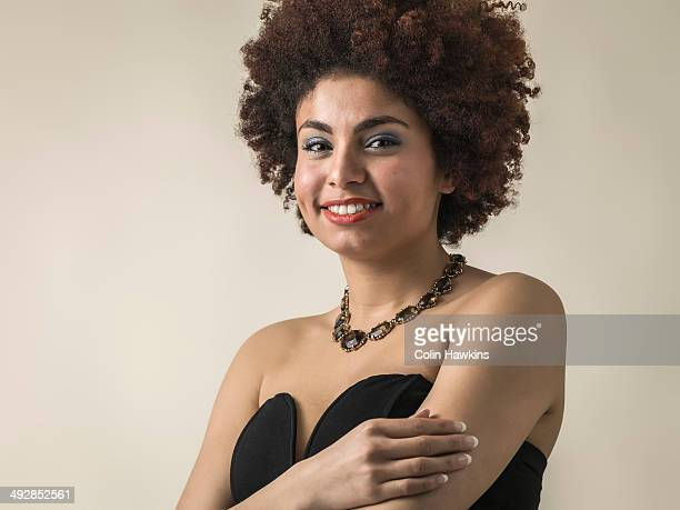 elegant young black woman - strapless evening gown stock pictures, royalty-free photos & images