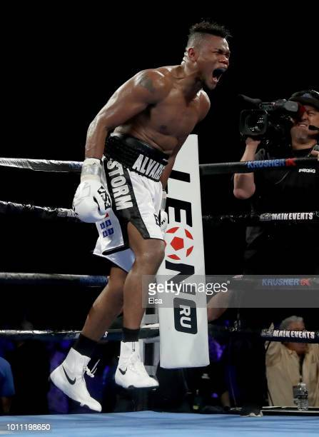 Eleider Alvarez celebrates after he knocked out Sergey Kovalev in the seventh round during the WBO/IBA Light Heavyweight Title bout at the Hard Rock...