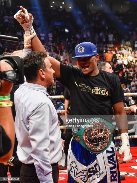 Eleider Alvarez celebrates his victory against Jean Pascal during the WBC light heavyweight silver championship match at the Bell Centre on June 3...