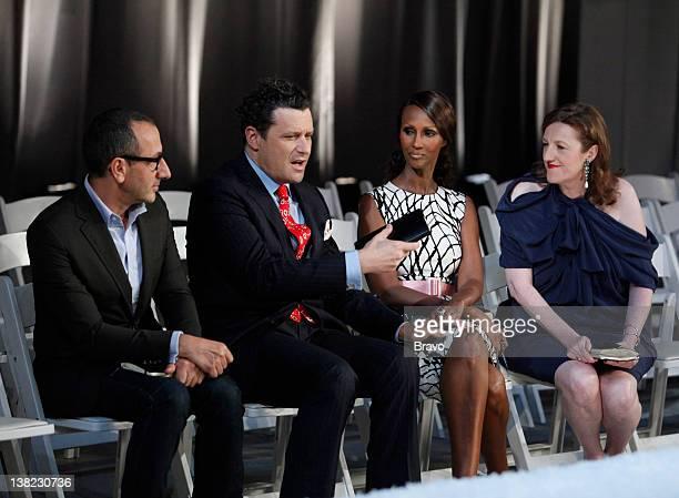 "Elemental Fashion"" Episode 209 -- Pictured: Judges Gilles Mendel, Isaac Mizrahi, Iman, Glenda Bailey"