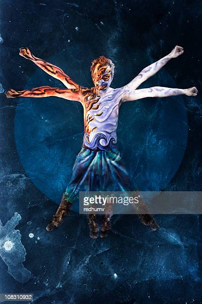 elemental vitruvian man - the four elements stock pictures, royalty-free photos & images