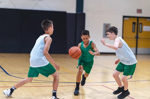 Elementary boys playing basketball 1029062064