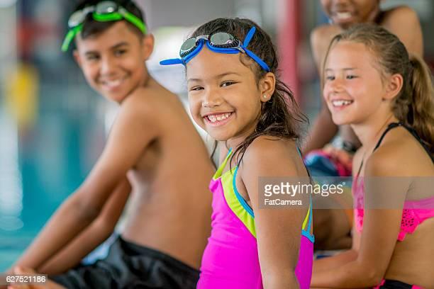 Elementary Kids Taking a Swim Class