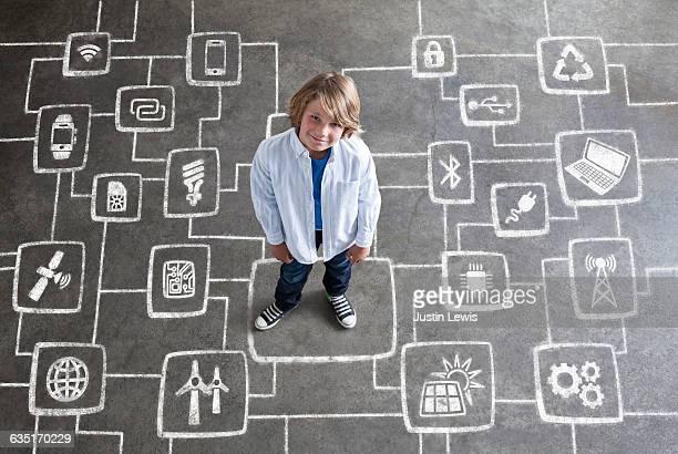 Elementary School Boy with Chalkboard Technology
