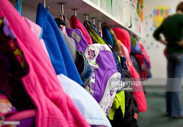 Elementary School Coat Rack: Backpacks