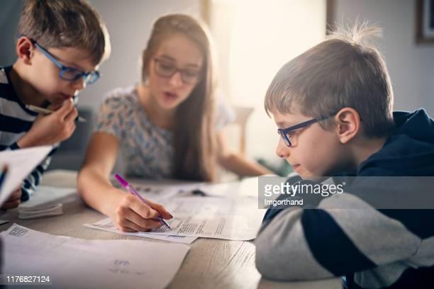 家庭で宿題をしている小学生 - 兄弟 ストックフォトと画像