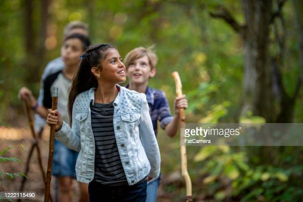 elementary school kids hiking - fatcamera stock pictures, royalty-free photos & images