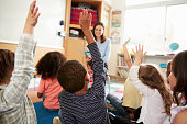 Elementary school kids raising hands to teacher, back view