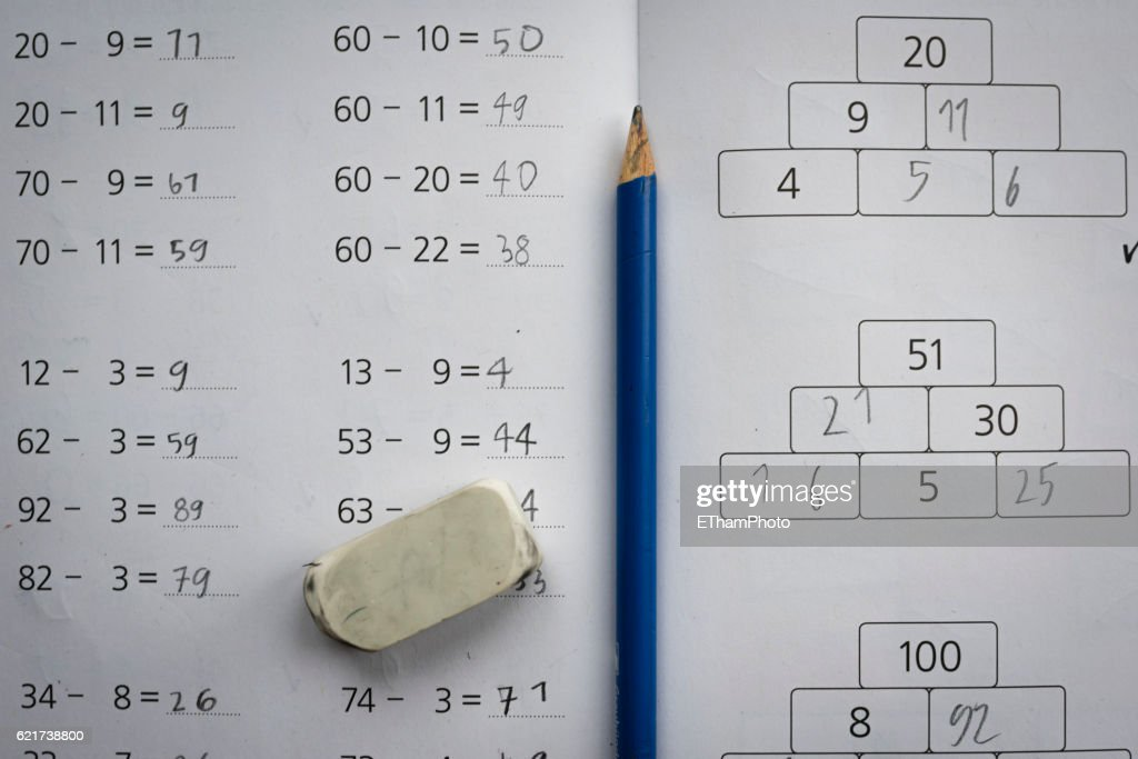Elementary School Mathematics Exercise Book Stock Photo | Getty Images