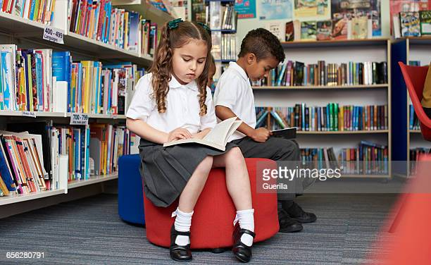Elementary School Pupils Reading In Library