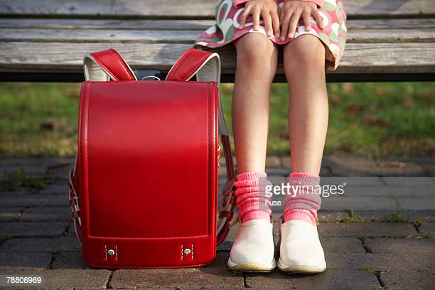 elementary school student with randosel - children only stock pictures, royalty-free photos & images