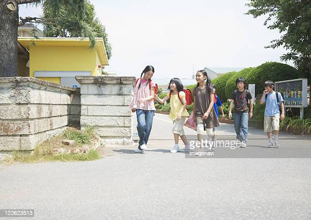 Elementary school students commute