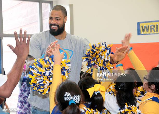 Elementary school students getting active with UNICEF Ambassador Tyson Chandler at an event celebrating UNICEF Kid Power at Esperanza Hope Medrano...