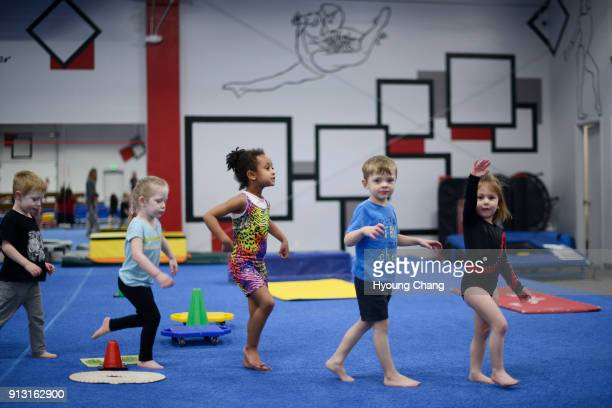 Elementary School students in Achieve Gymnastics January 31 2018 The private gym offering recreational gymnastics instruction and a competitive team...