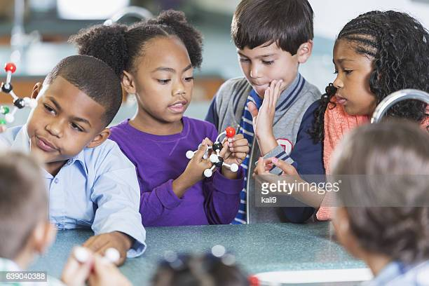 Elementary school students in science class