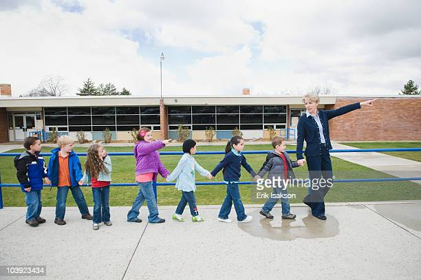 Elementary school students on a field trip