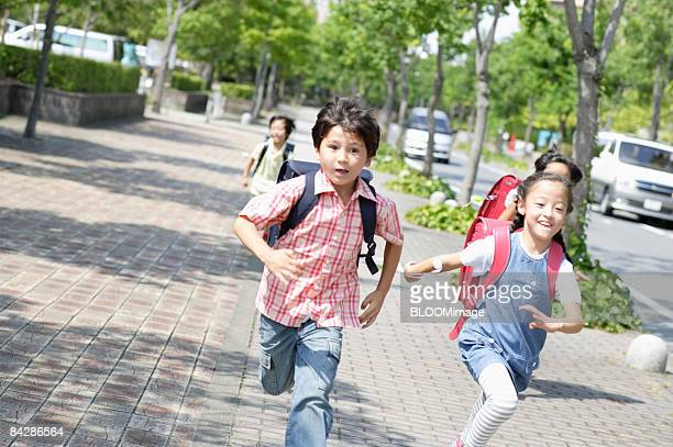Elementary school students on their way home