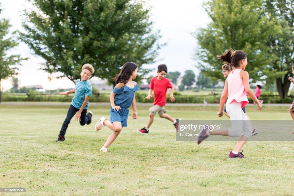 Elementary School Students Play at Recess stock photo : Stock Photo