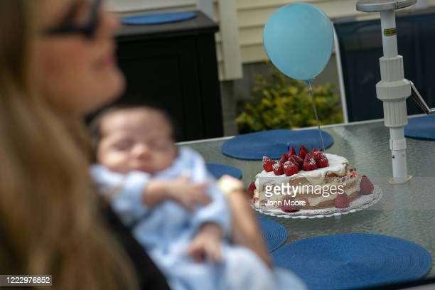 Elementary school teacher Luciana Lira holds baby Neysel on the infant's onemonth birthday on May 2 2020 in Stamford Connecticut Lira a K5 Bilingual...