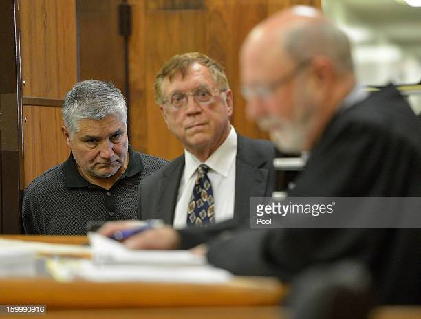 LAUSD elementary school teacher Robert Pimentel and his attorney Richard Knickerbocker attend Pimentel's arraignment on sex abuse charges with Judge...