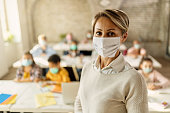 Elementary school teacher with protective face mask in the classroom.