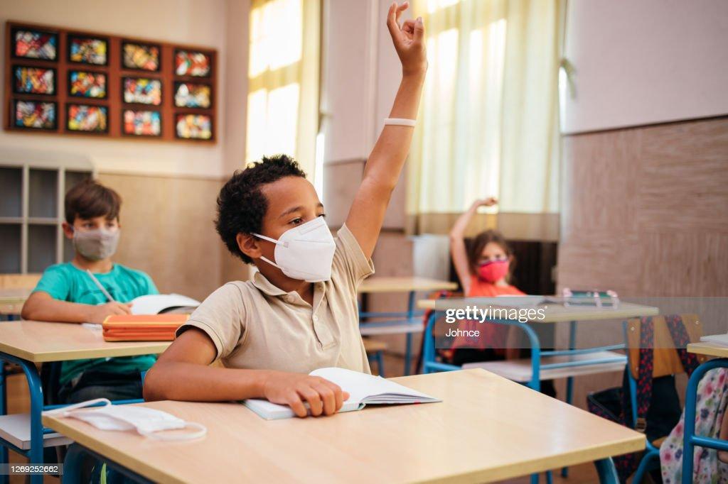 Elementary schoolboy on class : Stock Photo
