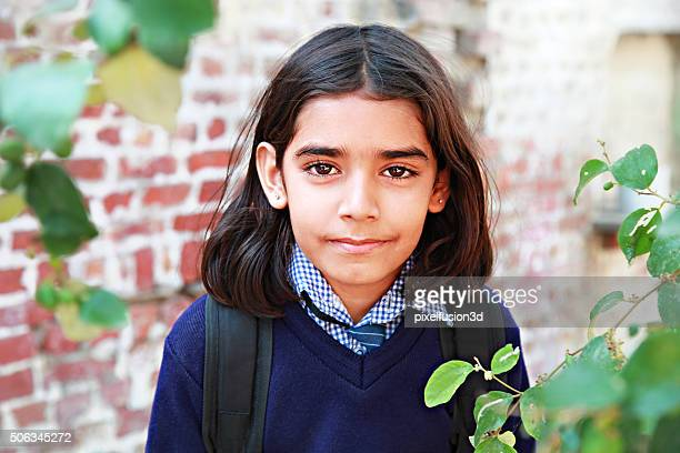 elementary student portrait - indian beautiful girls stock photos and pictures